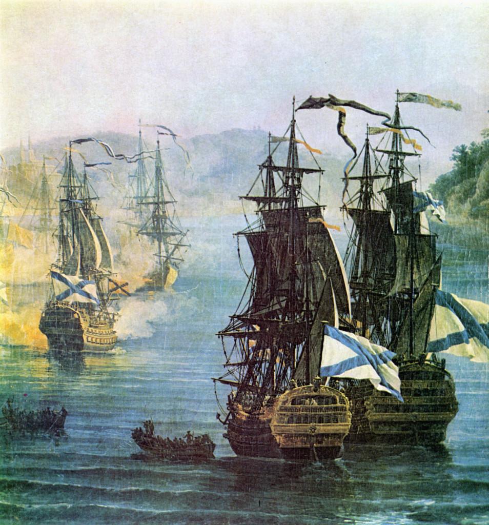 Русские линейные корабли «Саратов» и «Святослав» во время боя в Хиосском проливе, фрагмент картины П.-Ж.Волэра, 1771 г.