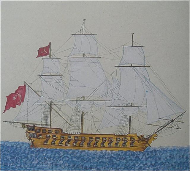 Старинная миниатюра – турецкий линейный корабль XVIII века
