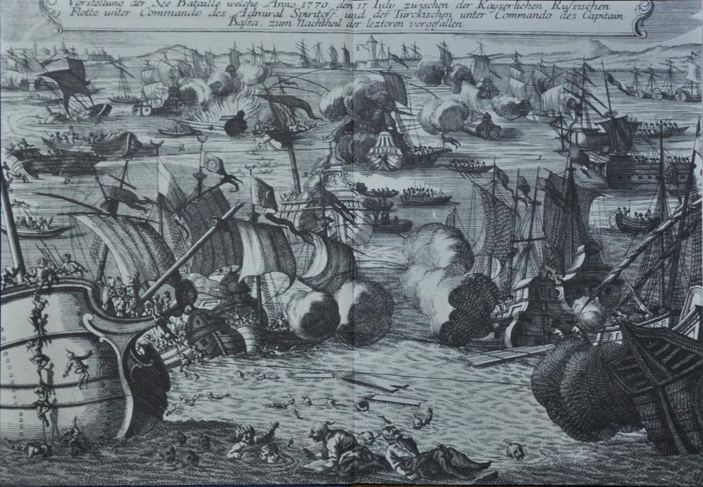 Так представляли Чесменское сражение в Западной Европе. Старинная немецкая гравюра