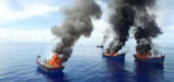 В Палау сожгли четыре браконьерские рыболовецкие лодки.