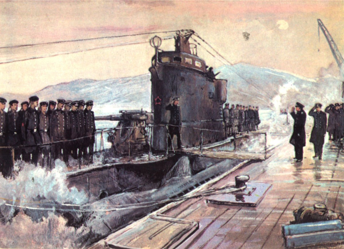 Гвардейская подводная лодка Д-3 возвращается с победой