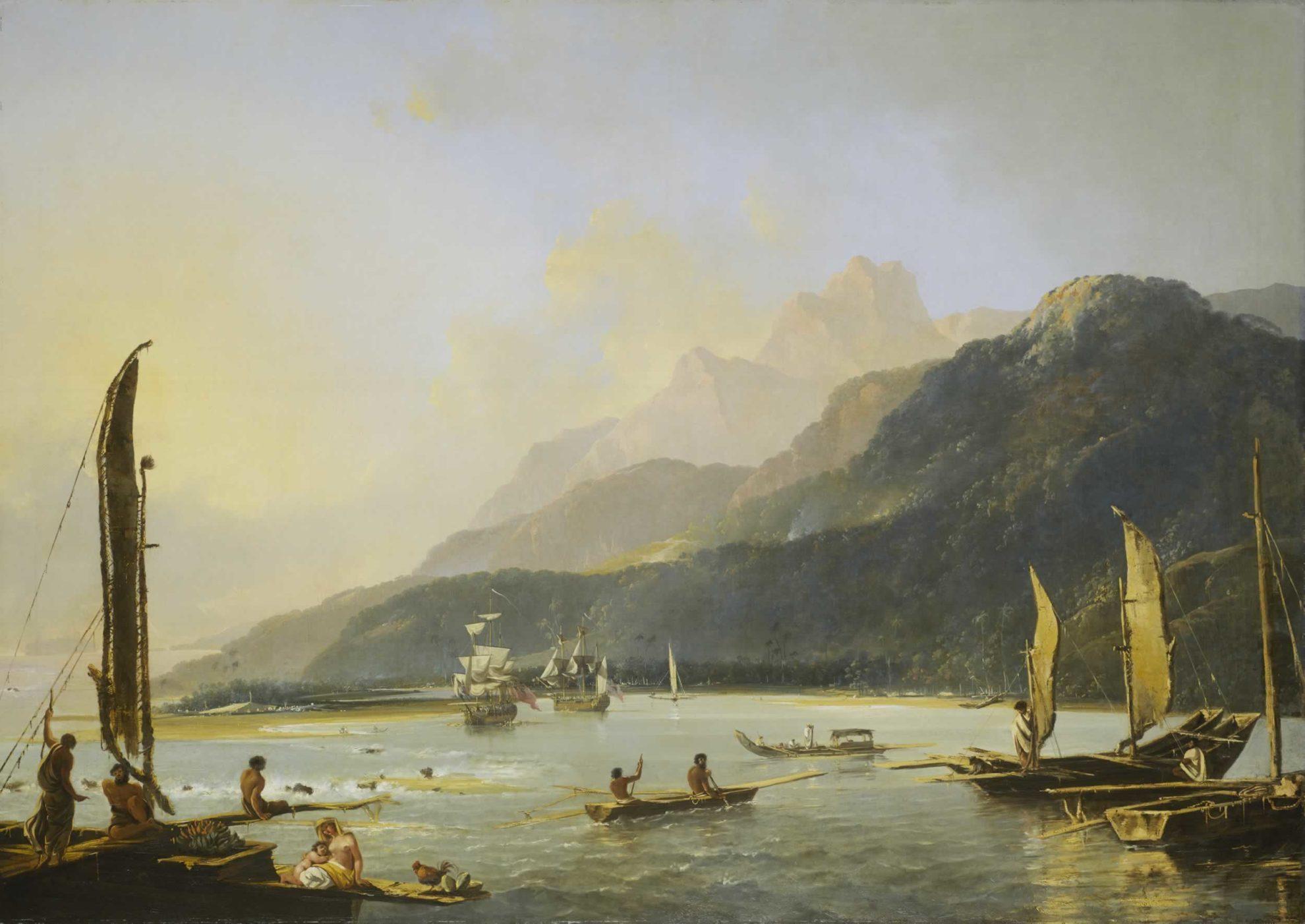 Hodges,_Resolution_and_Adventure_in_Matavai_Bay Резолюшн и Эдвенчур в заливе Матавай Таити. Картина. Автор Уильям Ходжес, 1776