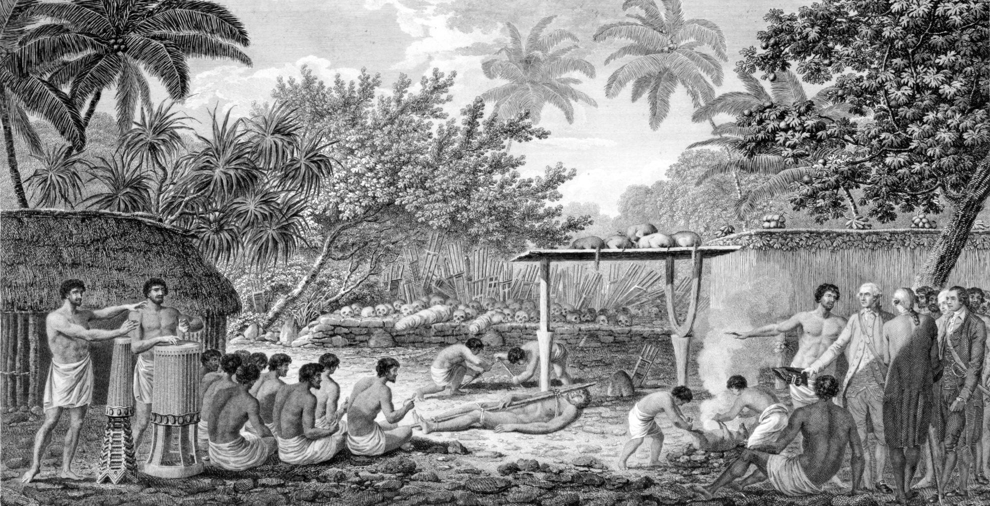 James_Cook,_English_navigator,_witnessing_human_sacrifice_in_Taihiti_(Otaheite)_c._1773 Кук наблюдает за человеческими жертвоприношениями на Таити (1773 год)