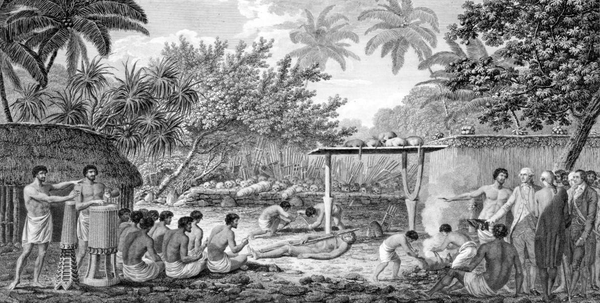 James_Cook,_English_navigator,_witnessing_human_sacrifice_in_Taihiti_(Otaheite)_c._1773 Полинезия