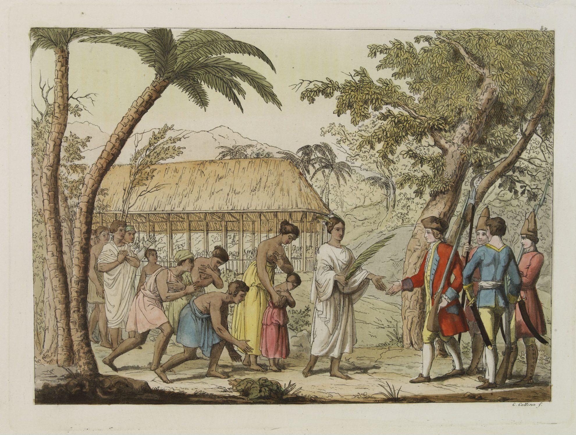 Королева Oberea приветствует капитана Wallis. Tahiti Le Costume Ancien et Moderne by Giulio Ferrario 1827. Полинезия