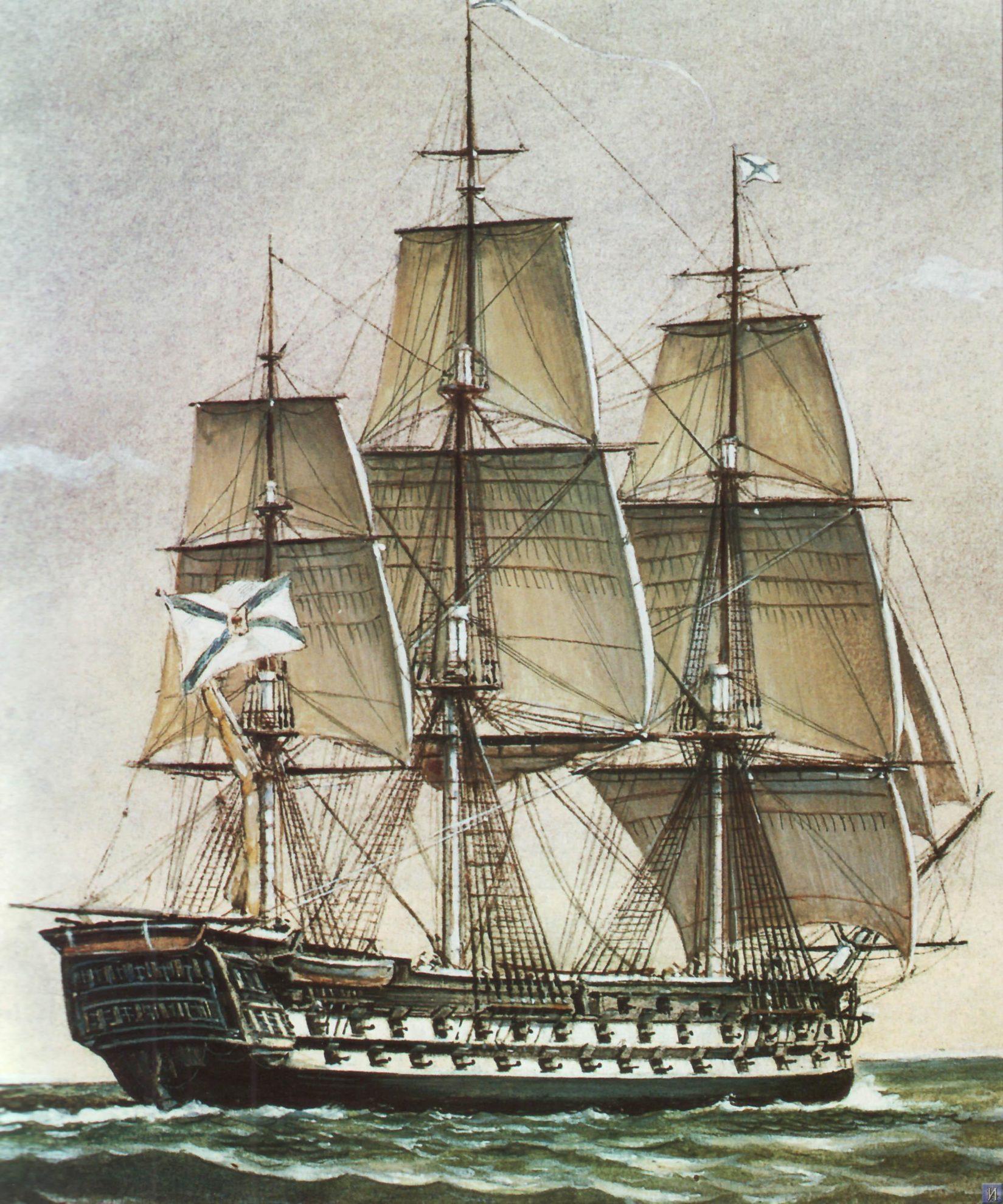 Фрегат  «Крейсер». Корабль строился на Соломбальской верфи в Архангельске под наблюдением  капитана 2 ранга М. П. Лазарева