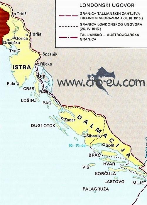Территории Австро-Венгрии, которые должны были отойти Италии по секретному Лондонскому договору 1915 г.