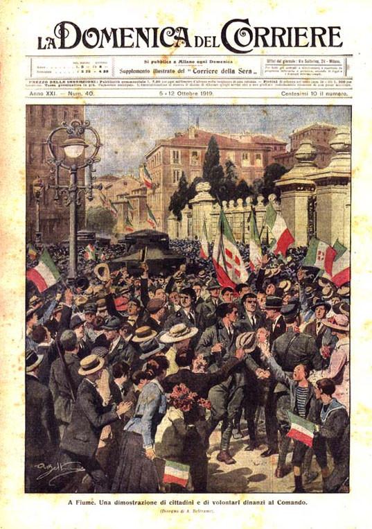 Обложка иллюстрированного издания «La Domenica del Corriere» изображает триумфальный въезд легионеров Габриэле д'Аннунцио в Фиуме