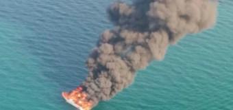 """Яхта """"Ла Ларисса"""" сгорела у берегов Италии."""