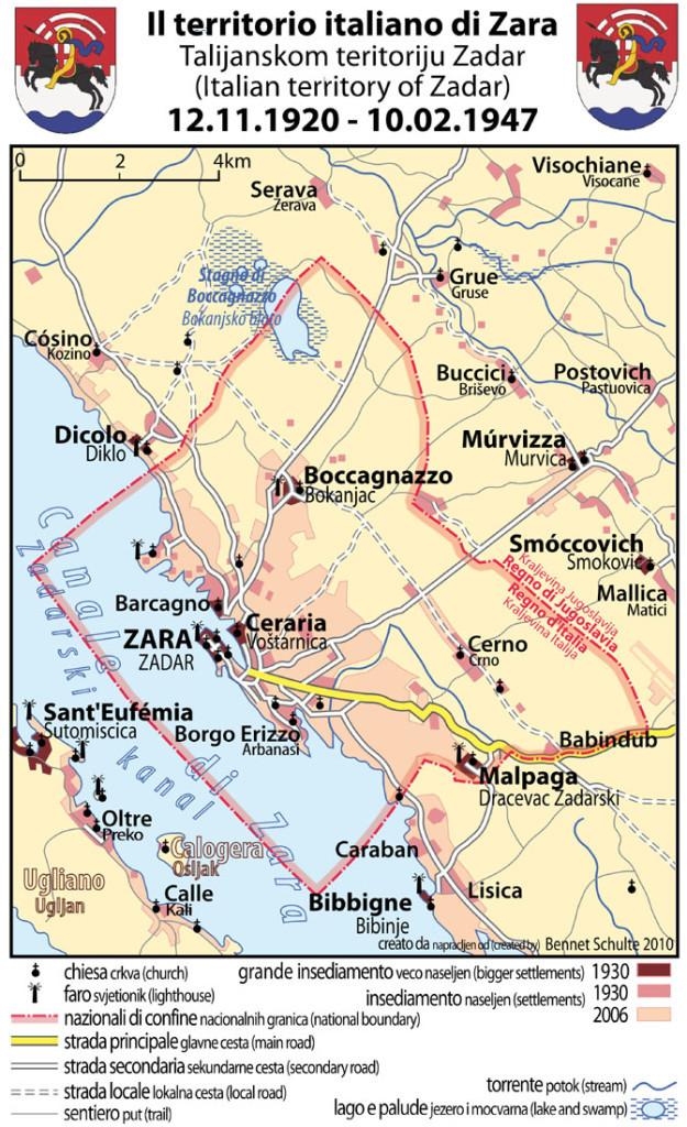 Территория «коммуны Зара» во времена итальянского господства