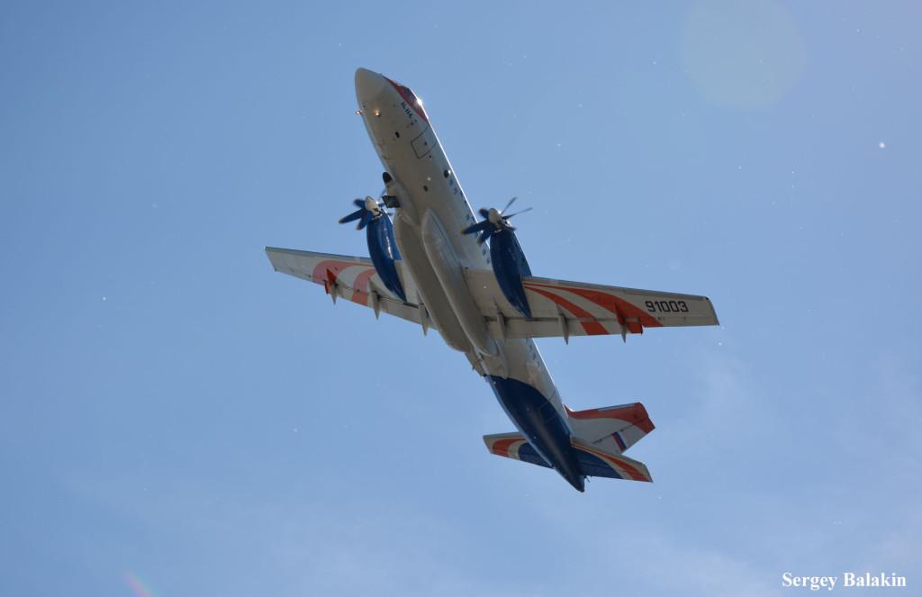 Самолёт-лаборатория Ил-114ЛЛ Санкт-Петербургского научно-производственного предприятия «Радар ММС» в полёте