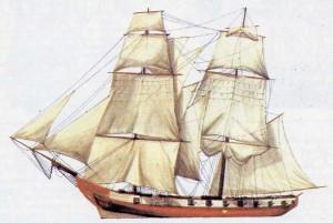 """Фпанцузский бриг """"la Taktik""""  1792 год."""