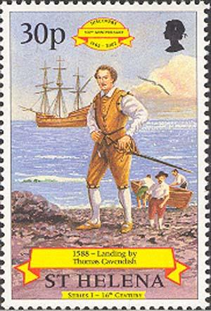 """Марка """"Томас Кавендиш и его корабль «Desire». 1997 г. Фото: imap.philatelia.r"""