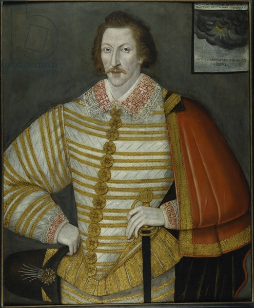 CTS336309 Portrait of Thomas Cavendish, the Circumnavigator, 1588-91 (oil on wood panel) by Bettes, John the Younger (c.1530-1615/6) (attr.to); 89x74 cm; Chatsworth House, Derbyshire, UK; (add.info.: Thomas Cavendish (1560-92) first explorer who deliberately set out to circumnavigate the globe;); © Devonshire Collection, Chatsworth Reproduced by permission of Chatsworth Settlement Trustees; English,  out of copyright