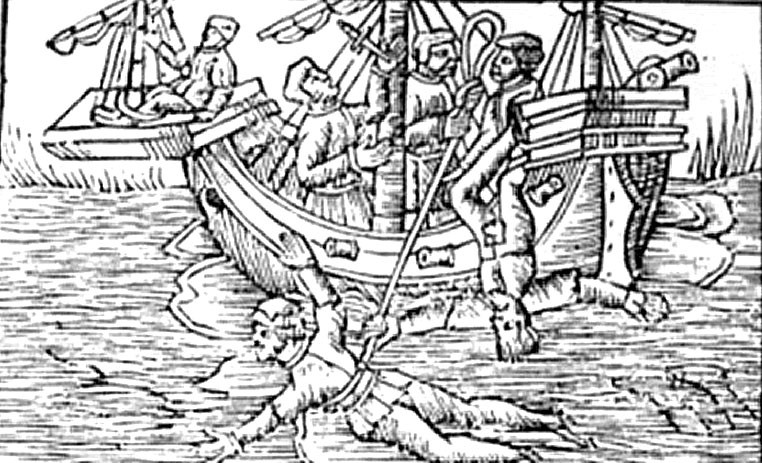 Английская гравюра эпохи Тюдоров также изображает протягивание под килем