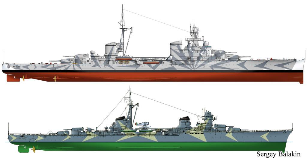 Итальянские корабли времён Второй мировой: тяжёлый крейсер «Bolzano» (вверху) и лёгкий крейсер «Emanuele Filiberto Duca d'Aosta» в камуфляжной окраске под названием «двойная рыбья кость», февраль 1941 г. (внизу)