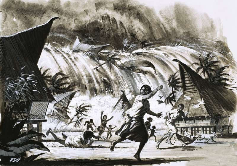 Цунами после извержения Кракатау, август 1883 г.
