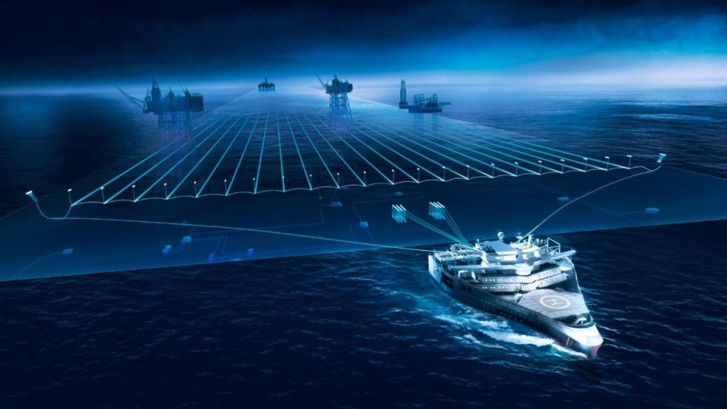 Схема буксировки стримеров судном «Ramform Titan»