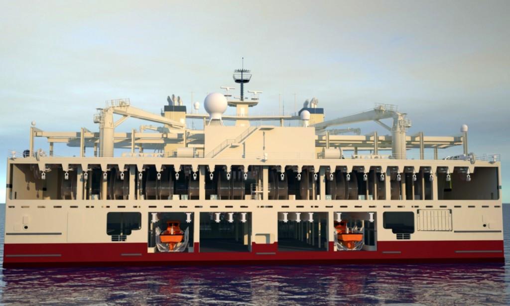Транец судна «Ramform Titan» с приспособлениями для буксировки стримеров