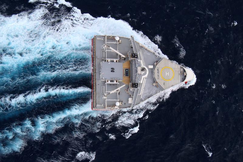 Вид сверху на «Ramform Atlas» - второе судно типа «Ramform Titan»