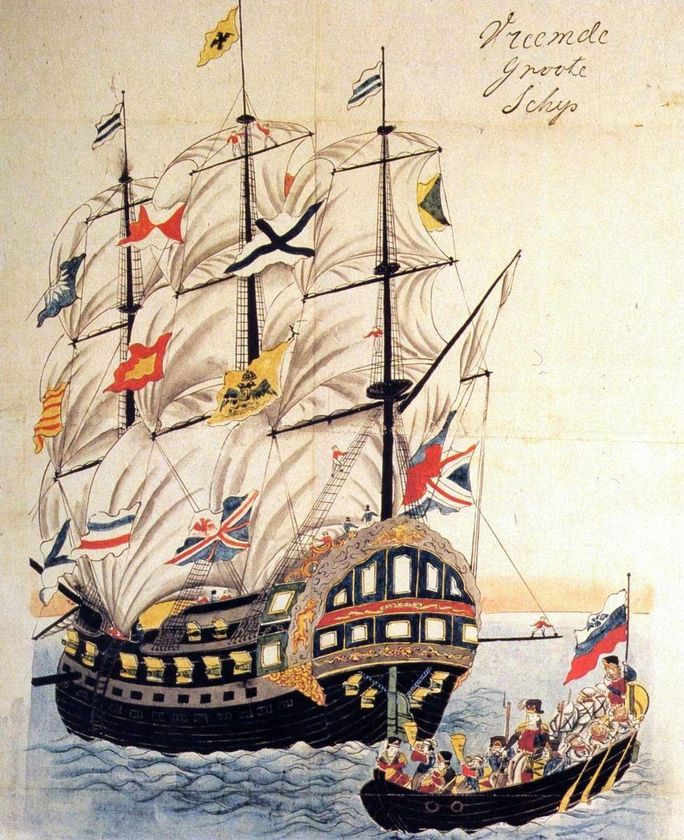 Паллада в Нагасаки. Рисунок японского художника 1854 года
