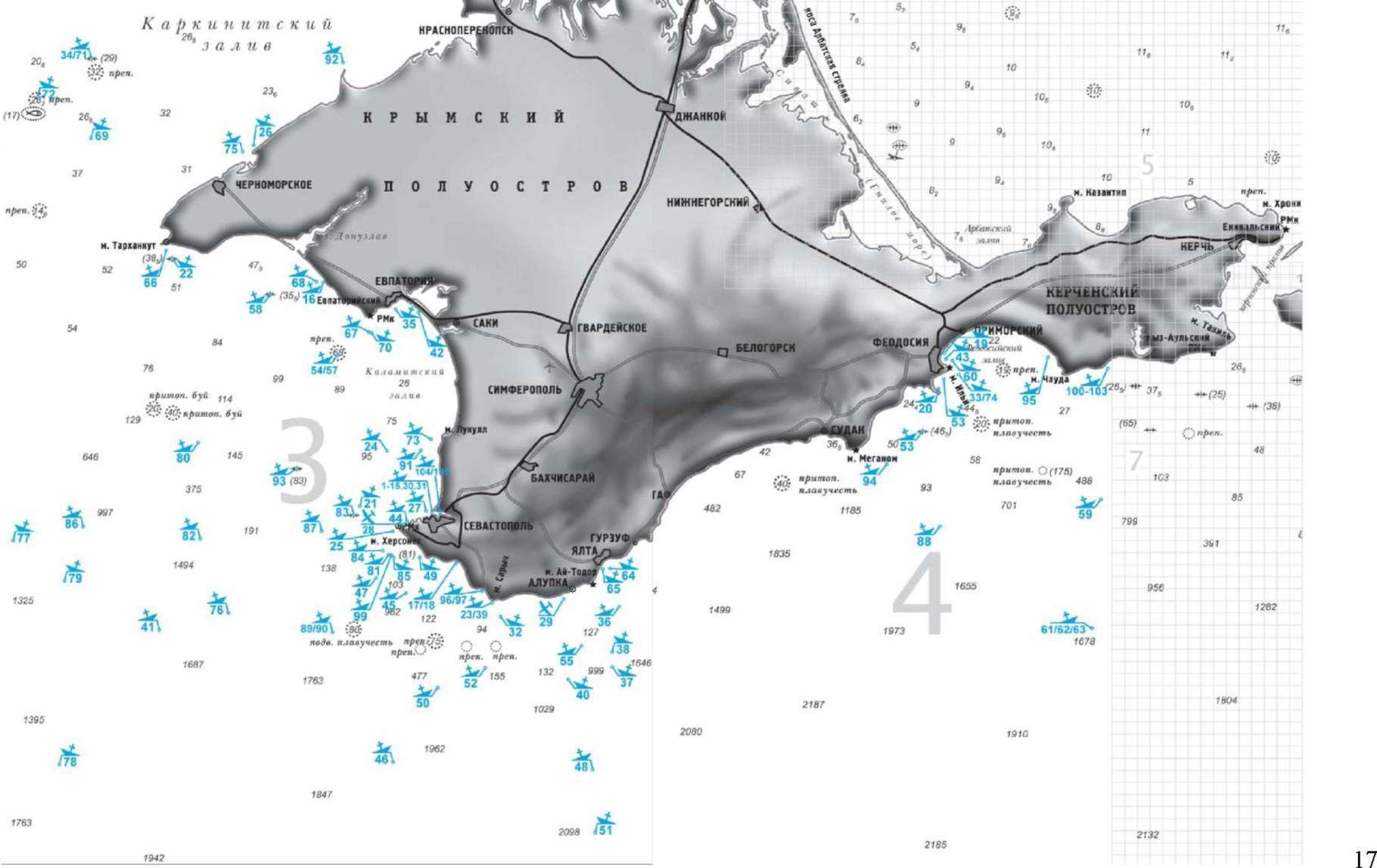 Карта затонувших кораблей Черного моря.