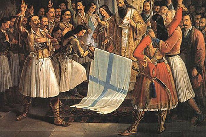 Освящение флага восставших греков в монастыре Агиа Лавра. Худ. Теодорос Вризакис
