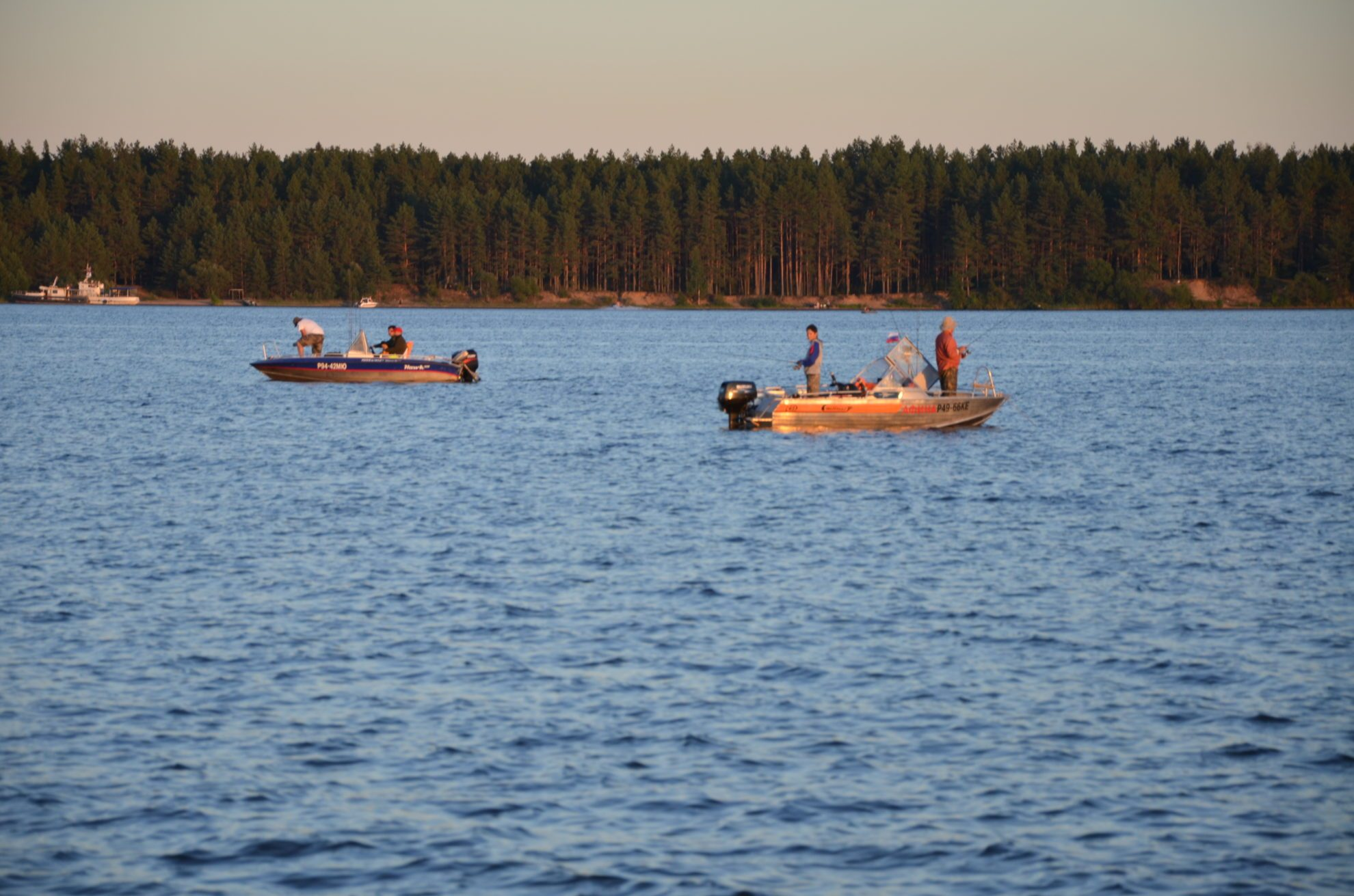 закат, волга, медведица, река, рыбаки